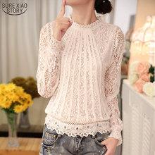 2016 New Summer Ladies White Blusas Women's Long Sleeve Chiffon Lace Crochet Tops Blouses Women Clothing Feminine Blouse 51C(China (Mainland))