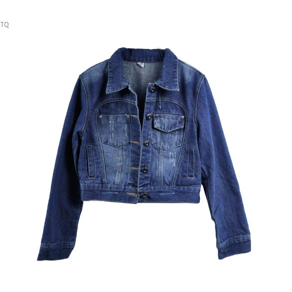 New Women Girls Washed Blue Denim Jean Jacket Top Long Sleeve Short Coat Outwear S M L Size-in ...