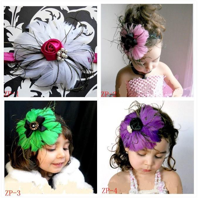 EMS DHL Free Shipping Baby Toddler Girls Hair Accessory Headband Crochet Head band Baby Hair Flowers x-mas Holiday costume(China (Mainland))