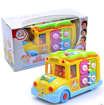 Free Shipping good quality 2014 baby early learning toys bus electric car toy model school bus with light and music hot selling(China (Mainland))