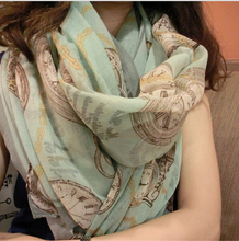 chiffon scarf printed clock pattern scarves fashion shawl for women large size sunscreen towel 204743 large size