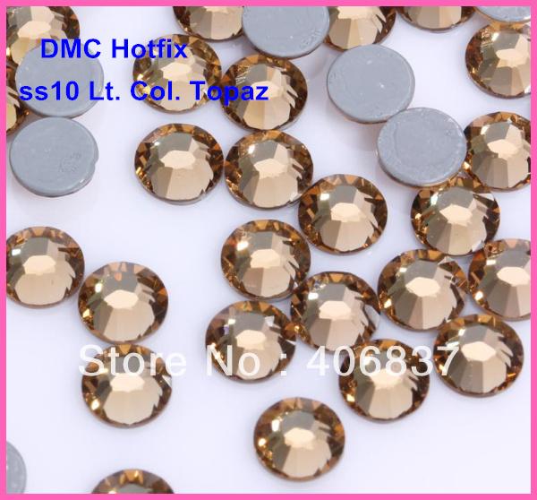 Free Shipping! 1440pcs/Lot, ss10 (2.7-2.9mm) High Quality DMC Light Colorado Topaz Iron On Rhinestones / Hotfix Rhinestones(China (Mainland))