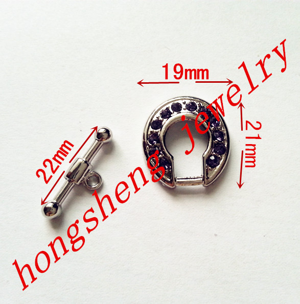 20 Sets/lot Purple rhinestone O T Shaped Toggle Clasps antique white K plated connector DIY accessories free ship,size As shown(China (Mainland))
