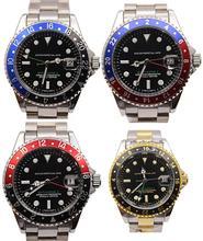 Lujo nuevos hombres de la marca de negro y azul / rojo GMT MASTER II 2 mecánico automático relojes de acero inoxidable hombres reloj auto viento