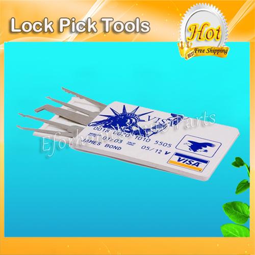 Stainless Steel Locksmith Tools Of Credit Card Pickset /Card Lock Picking /Hook Pick Set Free Shipping(China (Mainland))