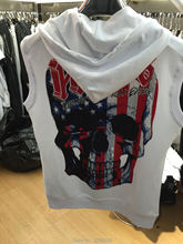 2016 high quality fashion funny skull sleeveless hoodies with hats zipper different for men slim fit black gery white