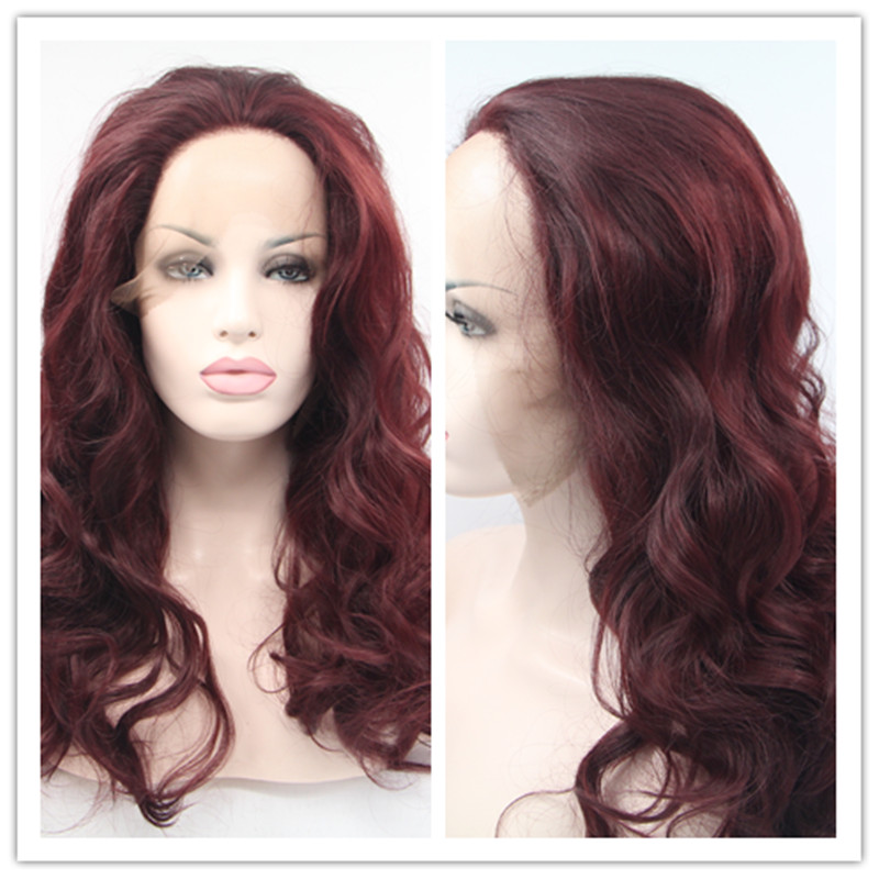 2016 Hot Sale Термоустойчивый синтетический Lace Front Wigs Свободная волна Wine Red Gluless Lace Frontal Celebrity парик for Black Woman