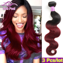 Buy 2 Tone Ombre Brazilian Virgin Hair Body Wave 3 Bundles Red 99J Burgundy Brazilian Hair Weave Bundles Ombre Human Hair Extensions for $44.72 in AliExpress store