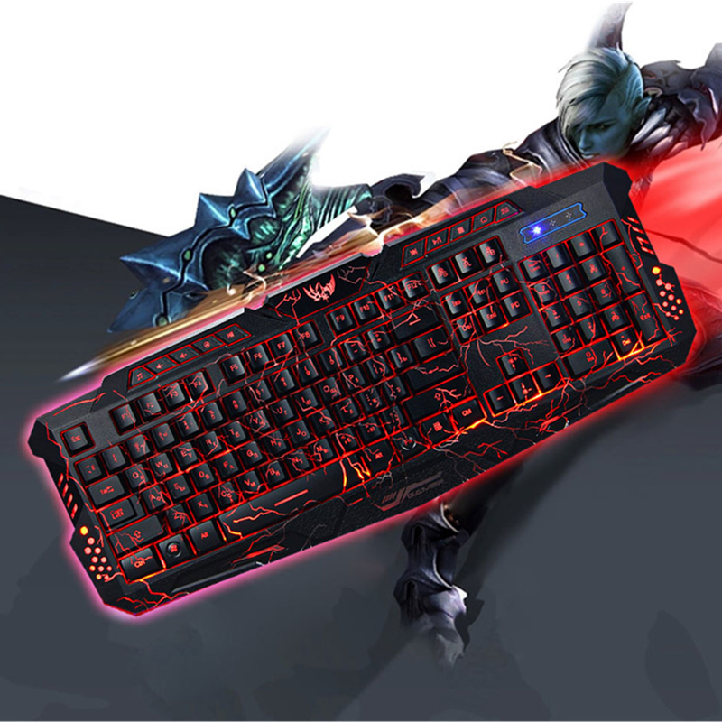 Russian Version Gaming Keyboard Gamer 3color Switchable Backlights LED USB Wired Game Keyboard for Computer Mac dota 2 lol cs(China (Mainland))
