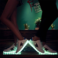 2017 Autumn Unisex USB Charging Lovers Light UP Sneakers Men Wamen White Casual Shoes Luminous Glowing