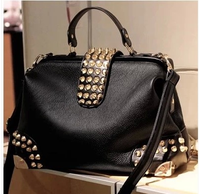 2015 Fashion Punk Studded Rivet Women's Handbag Trendy Black Cool Tote Bag One Shoulder Bag Cross Body/Messenger Bag