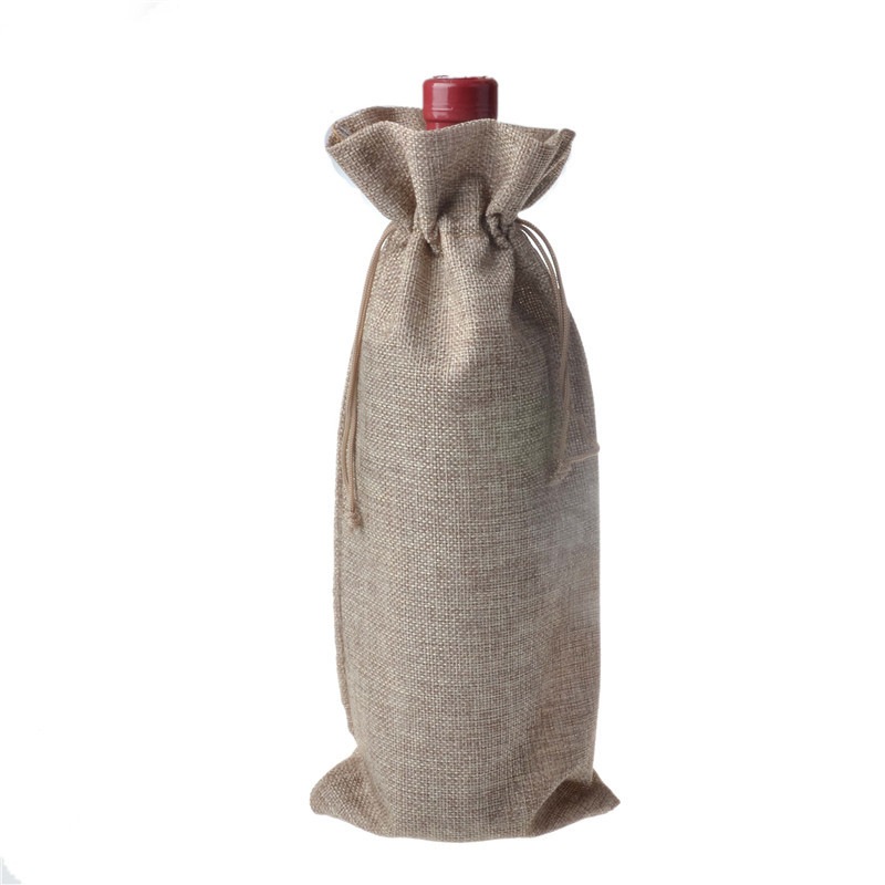 Jute Wine Bottle Bags 15cmx35cm (6 x 18.5) champagne Bottle Covers Linen  Gift Pouches Burlap Hessian Packaging Bag c04f629cf4