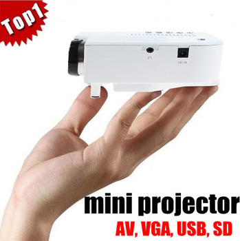 Wholesale Mini Portable LED Digital Projector VGA AV USB SD with remote control Factory price DHL free shipping