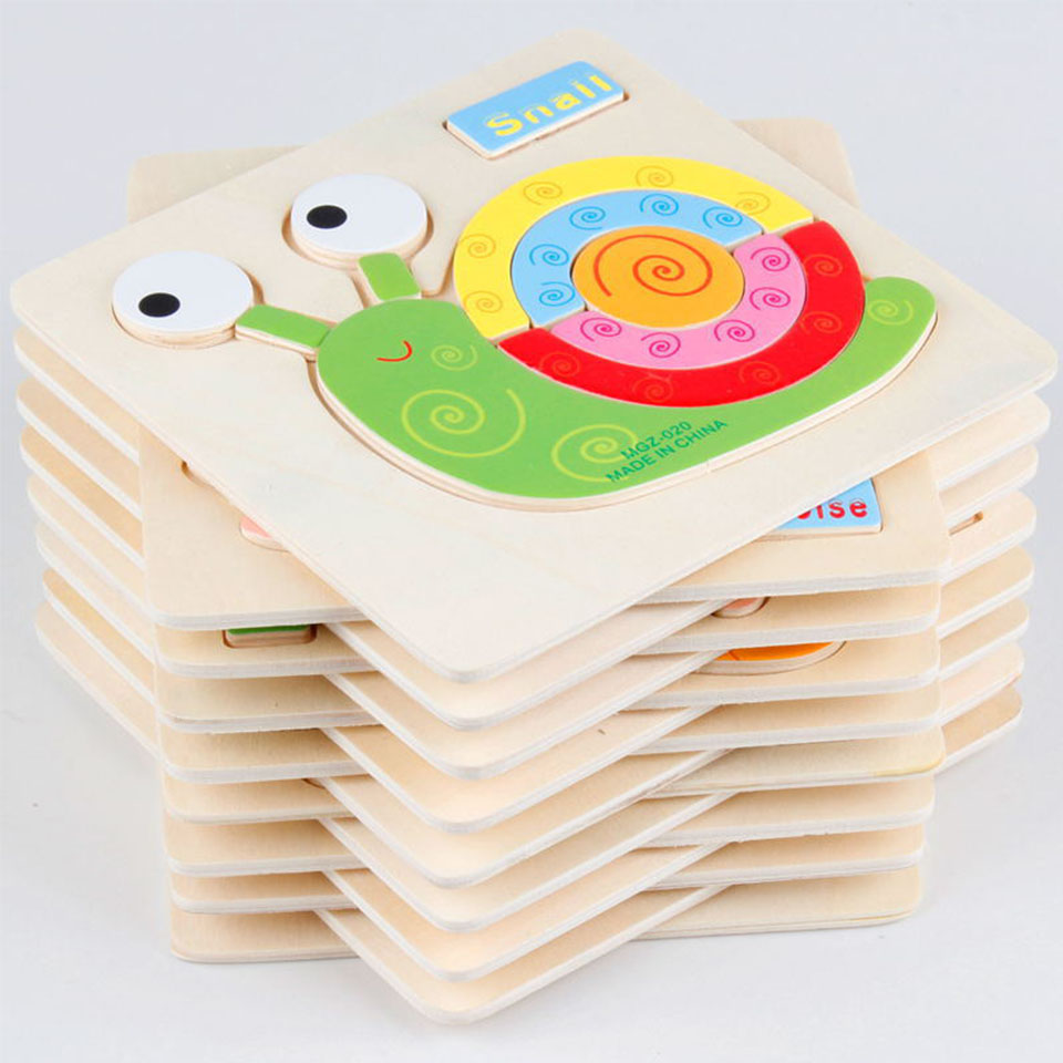 4PCS Kids Animals 3D Puzzle Wooden Educational Toys Games For Children GiftsLearning & Education 24 patterns puzzles toy WJ302(China (Mainland))