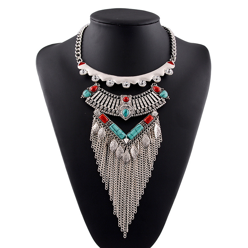 WH20160305-15  Fashion Jewelry 2016 Women High Quality Brand Vintage Tassel Necklaces Big Chunky Statement Necklace<br><br>Aliexpress