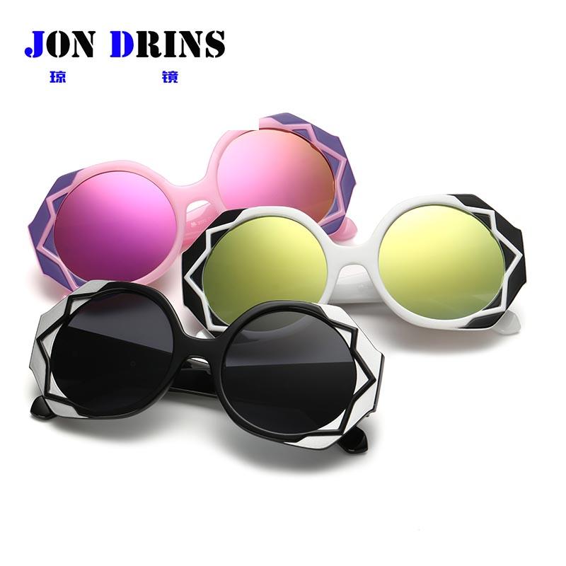 New Oversized Sunglasses Luxury Brand Designer Woman Sun glasses White Sunglass Round Mirrored lunettes de soleil femme(China (Mainland))