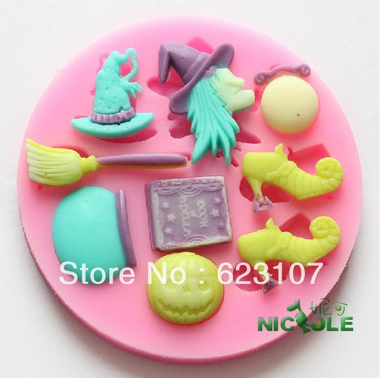 Wholesale Retail High Quality Halloween Witches Series Silicone Mold,Fondant Chocolate Soap,Soft Clay,Silly putty,Free Shipping(China (Mainland))