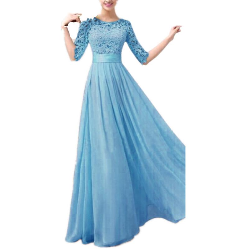 Plus Size S-5XL 2015 Fashion Women Dress Half Sleeve Lace Chiffon Slim Maxi Long Princess Party Dresses Vestido De festa(China (Mainland))