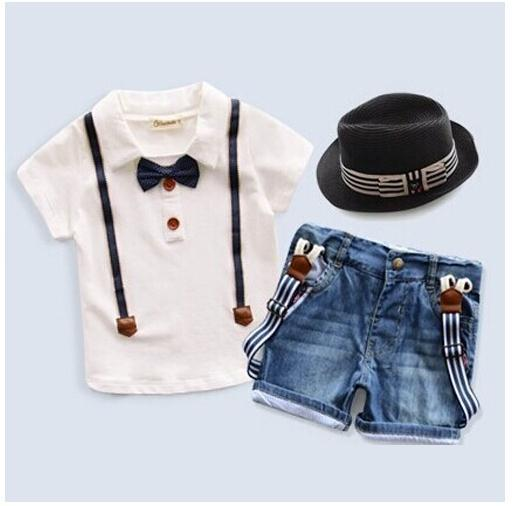 Retail 2015 New arrive Summer children's clothing set Outfits Sets Kids Cloth boys 2 pcs set cotton % T-shirts + denim shorts(China (Mainland))