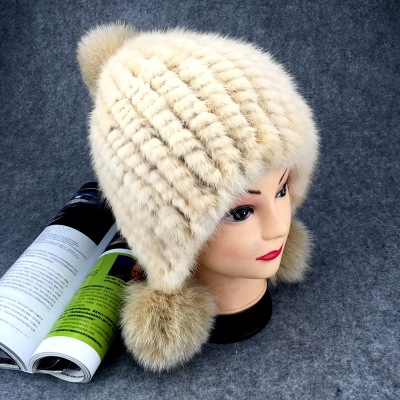 Winter New Authentic Thick Warm Mink Fur Hat Knitted Fox Fur Ball Ms. Luxury fashion Winter Hat Ear Cap Female Bomber Hats TM-7