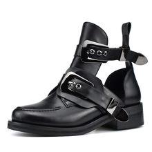 Prova perfetto 2019 Frühling Sommer Mode Frauen Ankle Schuhe Metall Schnalle Flache Heels Schwarz Aushöhlen Frauen Schuhe(China)