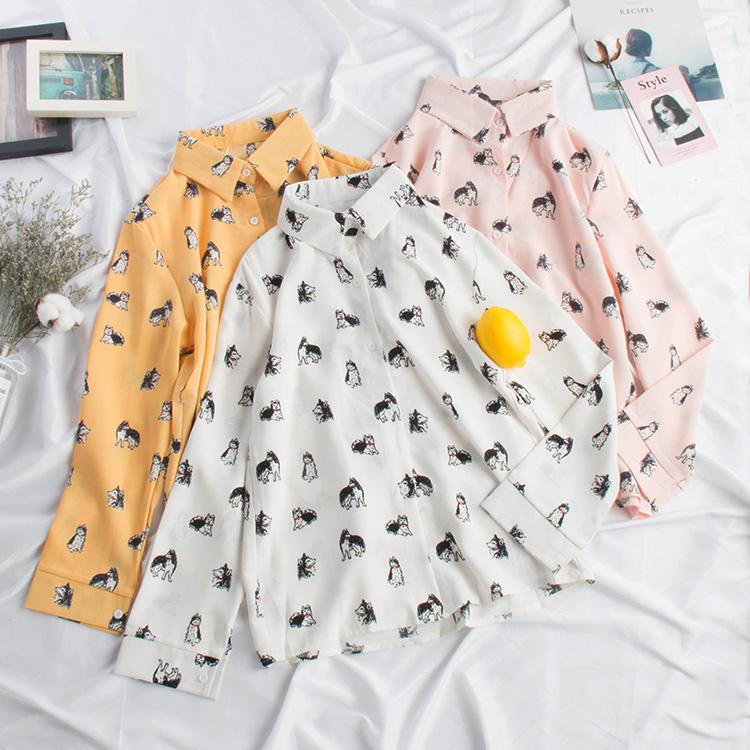 Fashion Style Streetwear Chiffon Tops Designer Fashion Brand Spring Women Blouses Turn-down Collar Shirts French Bulldog Blusa Vetement Femme Women's Clothing
