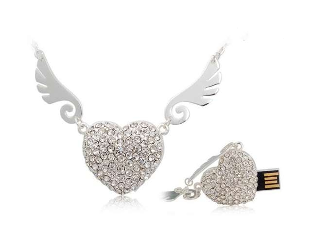 Angel Heart Jewelry Memoria USB Flash Drive 64GB USB 2.0 Pen Drive 512GB Mini Usb Memory Stick Pendrive 128GB 16GB 32GB Gift(China (Mainland))