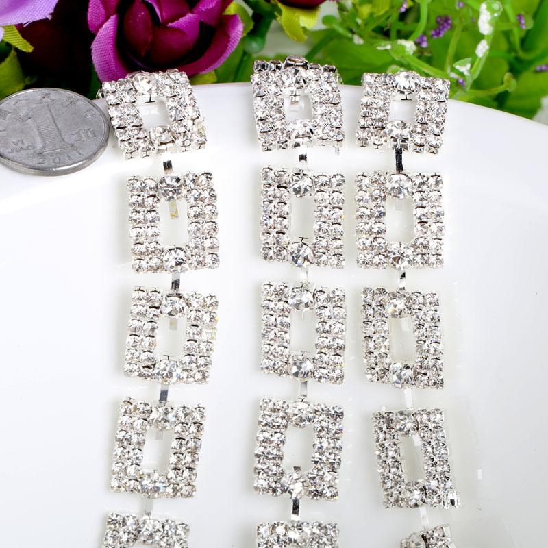 Hotfix Diamond Rhinestone Transfer Motifs Silver Trim Sew On Bridal Costume Square Clear Crystal Trim For Wedding Dress A53(China (Mainland))