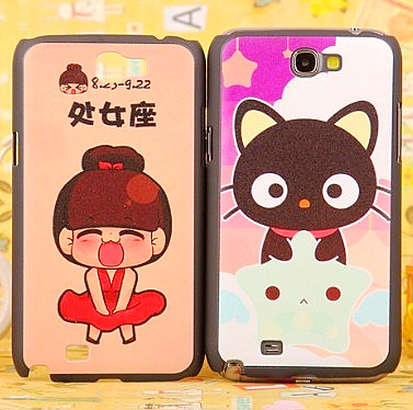 Colored drawing cartoon cat for samsung phone case note2 n7100 protective case shell mobile phone case