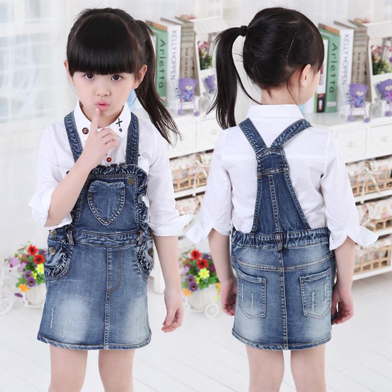 Kids  spring summer new love denim skirt cowboy suspenders skirt dress small children<br><br>Aliexpress