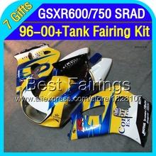 Blue yellow +Tank For SUZUKI 1996 1997 1998 1999 2000 GSXR600  GSXR 600 3T110 GSX-R600 96 97 98 99 00  Fairing HOT blue corona(China (Mainland))