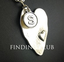 New Fashion Antique Silver Blank Heart with letter S tag Pendant Necklace For Womens Men Jewelry  E127(China (Mainland))