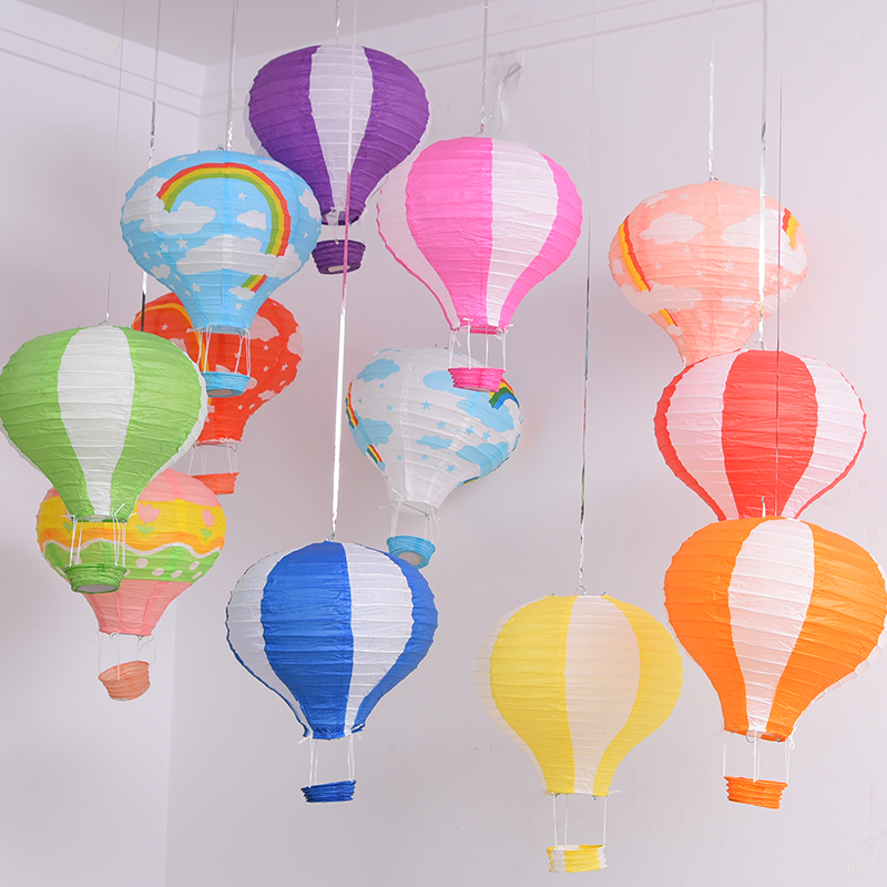 Rainbow printing paper lantern 30cm hot air balloon wedding decoration children's bedroom hanging birthday party decorations(China (Mainland))