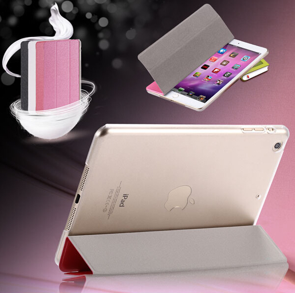 For iPad 6 Stand Leather Case Sleep Awake Smart Cover for ipad Air 2 Smooth Silk Matte Back Full Shell Folded Carry Bag 9.7<br><br>Aliexpress