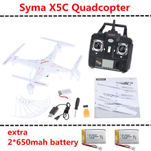 SYMA X5C X5C-1 4CH 6-Axis Gyro Remote Control RC Quadrocopter with 2 extra 650mah battery Drone With 2.0 mp Camera & Transmitter