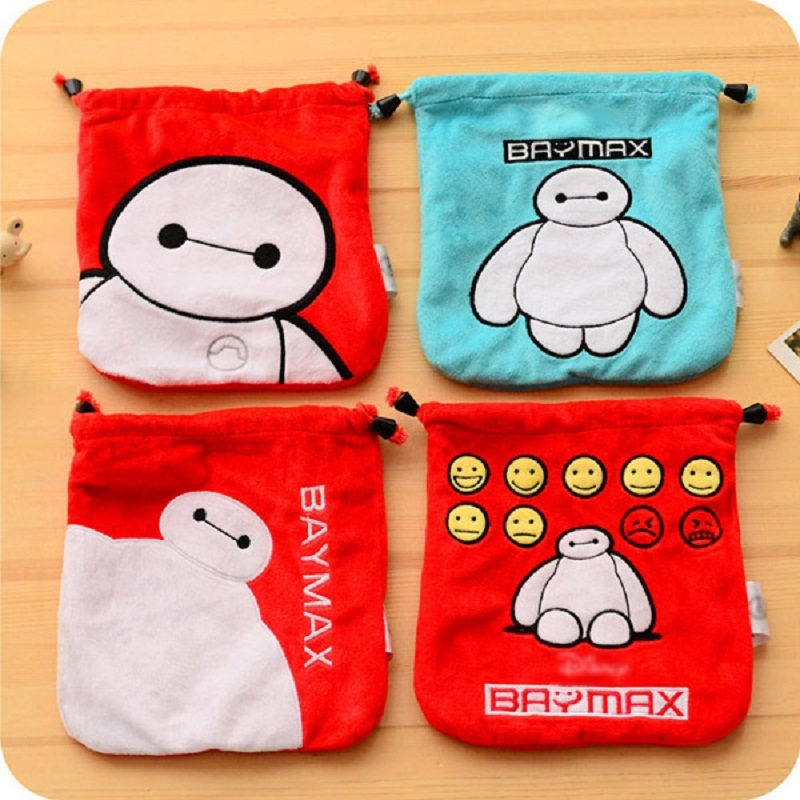 New Cartoon baymax print string women cosmetic pouch makeup bags female travel storage organizers(China (Mainland))