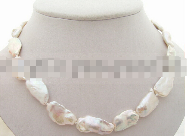 Miss charm Jew1477 Natural 20mm White Reborn Keshi Pearl Necklace(China (Mainland))