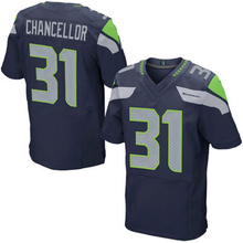 Mens #25 Sherman #12 Fan #31 Chancellor #3 Wilson College Navy Elite 100% Stitched Logos(China (Mainland))