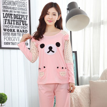 2016 autumn winter new hot Korean cotton double thick bear long sleeved suit pajamas(China (Mainland))