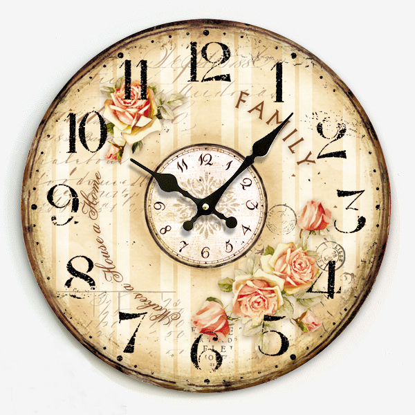 34cm digital wood clock on wall vintage country style single face round clock wall watch for home crafts cafe bar decoration