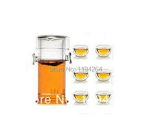 200ml Glass teapot+ 6pcs 50ml Double Walled glass Tea cups chinese Tea set #88