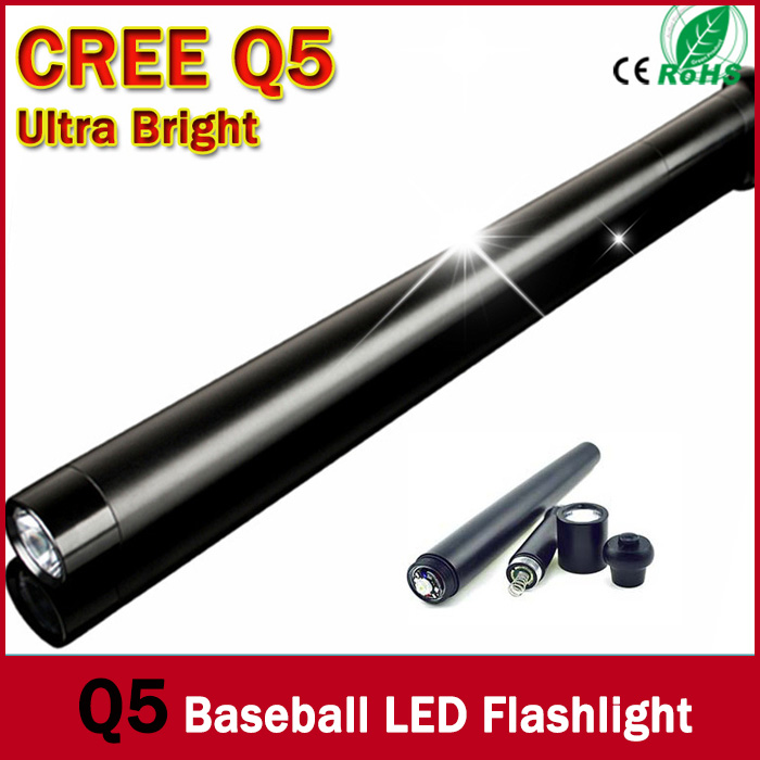 truncheons CREE Q5 Torch Ultra Bright LED Flashlight Mini Baseball bat shape For Security Dropshipping ZK90(China (Mainland))