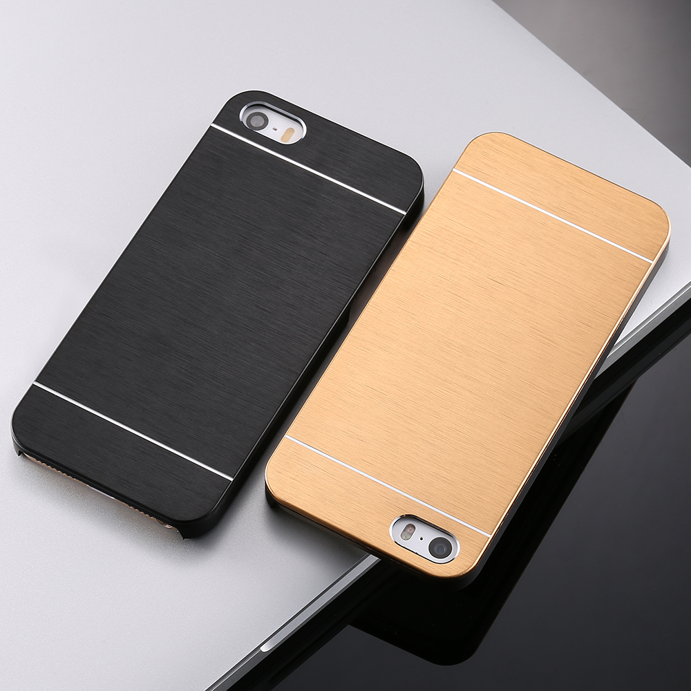 KISSCASE 5S SE Aluminum Case Metal iPhone 5 4S 4 Brush Skin Back Cover Brand Logo Coque - RCD Group Co., Ltd store