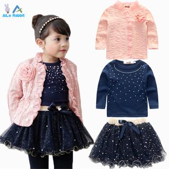 AiLe Rabbit 2-6 years Fashion Spring Girls Clothing Set 3 Pieces Suit Girls  Flower Coat + Blue T Shirt + Tutu Skirt Clothe Girl