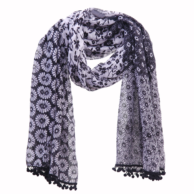 Women Floral Pattern Pompon Trim Scarf Cotton Voile Scarf Big Size Polyester Scarf Shawls 10pcs/lot Freeshipping(China (Mainland))