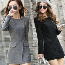 New Women's Stylish Slim Fit Trench Coat Winter Jacket Zip Up Jacket 2 Colors(China (Mainland))