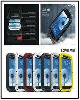 Original Love Mei Dirtproof Rain Waterproof Powerful Metal Case For samsung Galaxy S3 i9300 S4 + Gorilla Glass Free Shipping