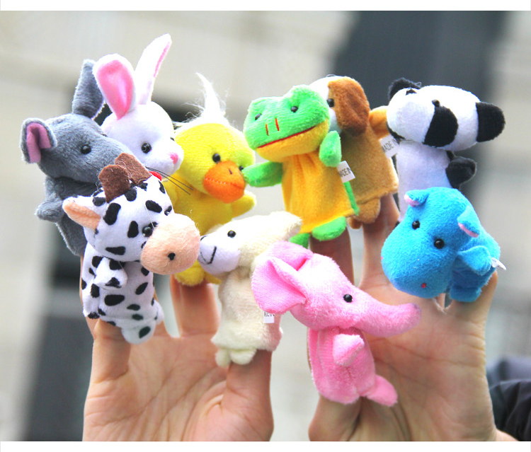 Free Shipping 20pcs/lot Baby Plush Toy,Finger Puppets,Talking Props(10 animal group)
