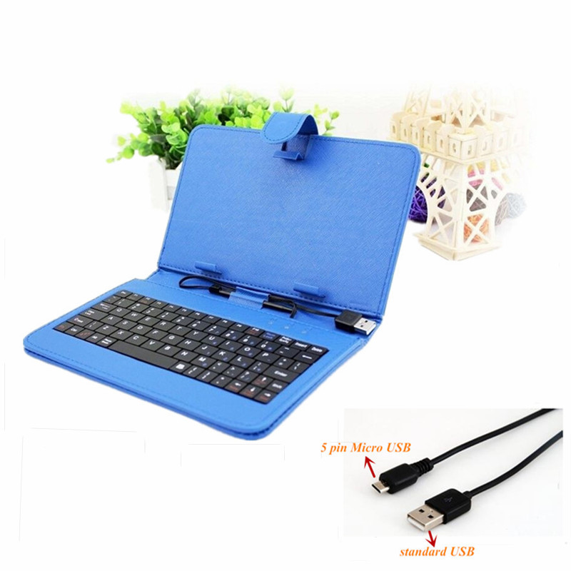 Free shipping Multi Color 9 Inch Tablet PC Faux Leather Keyboard Case Universal Micro 2.0 USB Standard USB tablet case(China (Mainland))