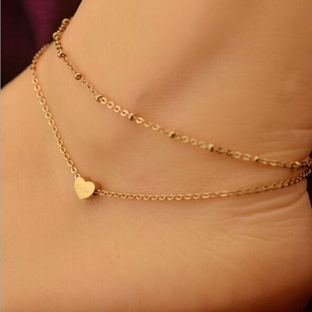 Лучшее Предложение 1 ШТ. Золото Элегантный Двухместный Цепи Сердце Браслет Из Бисера ...